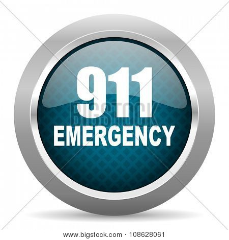 number emergency 911 blue silver chrome border icon on white background
