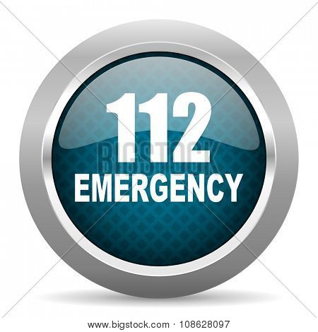 number emergency 112 blue silver chrome border icon on white background
