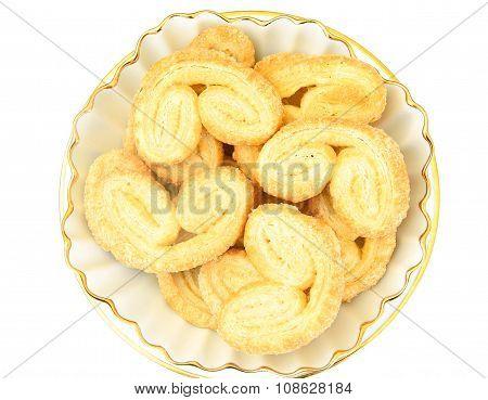 Sugar Puff Cookies on Plate.