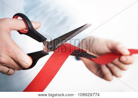 Red ribbon cutting for open new project