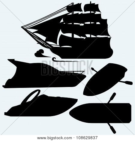 Wooden boat with paddles, sailing ship and luxury yacht