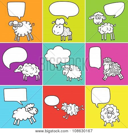 Sheep With Speech Bubble.