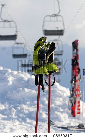 Gloves On Ski Poles At Ski Resort