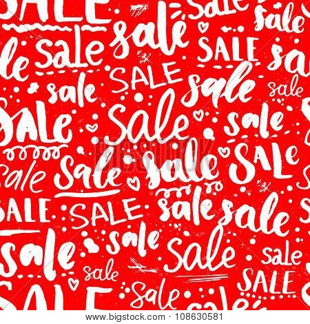 Red sale texture with handwritten text in different styles. Seamless pattern for promo and advertise