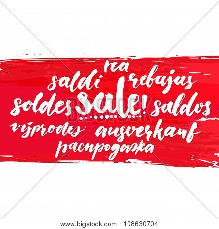 Sale word in different european languages. Soldes, soldi, rebujas, saldos, ausverkauf and rea. Red c