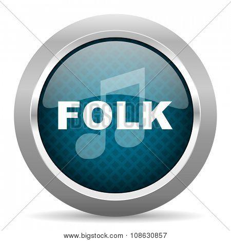 folk music blue silver chrome border icon on white background