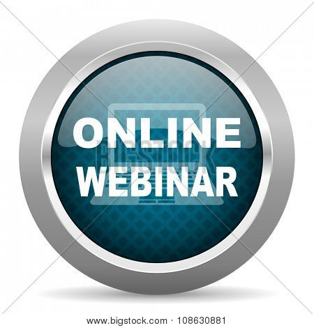 online webinar blue silver chrome border icon on white background
