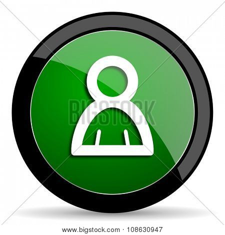 person green web glossy circle icon on white background
