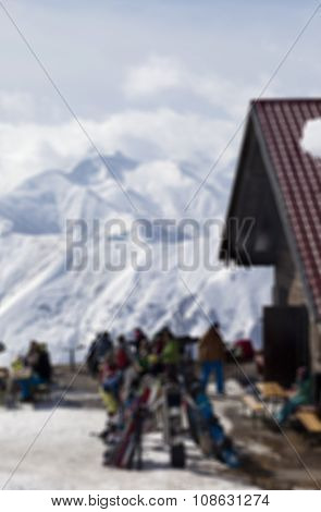 Blurry Outdoor Cafe At Ski Resort Not In Focus