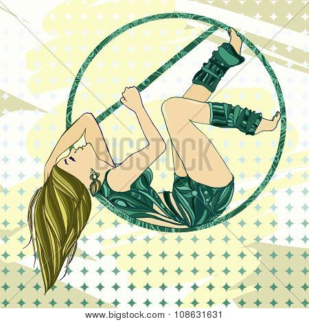 Sexual Women Pole Dance With Aerial Hoop