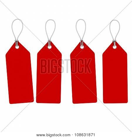 Blank Red Hanging Price Tags Isolated On White