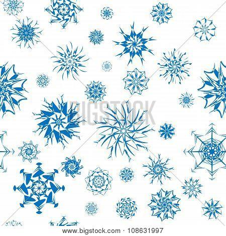 Elegant blue snowflakes of various styles isolated on white background.