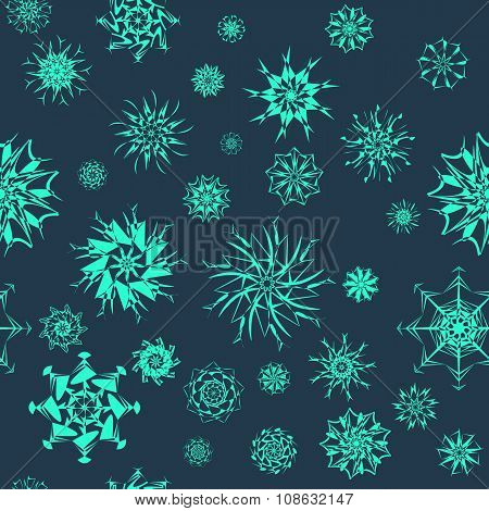 Elegant neon blue snowflakes of various styles isolated on dark blue background.
