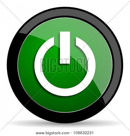 power green web glossy circle icon on white background