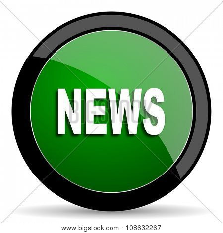 news green web glossy circle icon on white background