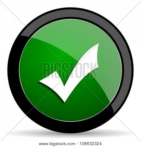 accept green web glossy circle icon on white background