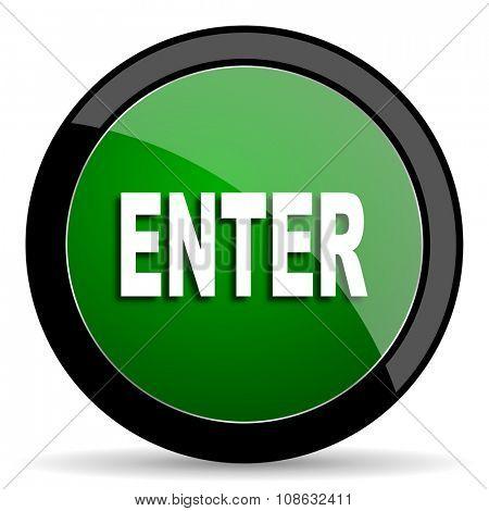 enter green web glossy circle icon on white background