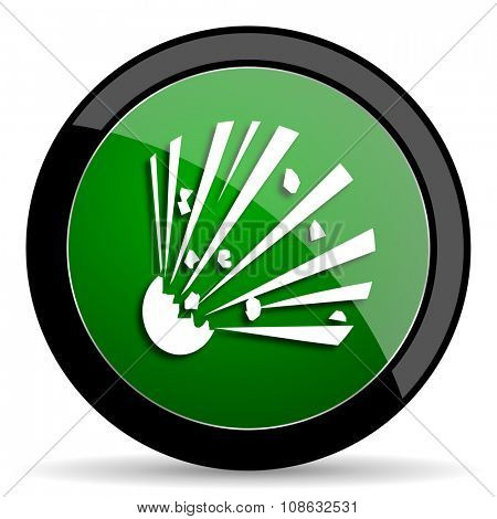 bomb green web glossy circle icon on white background