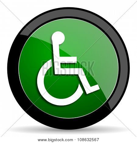 wheelchair green web glossy circle icon on white background