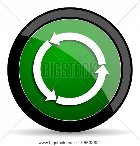 refresh green web glossy circle icon on white background