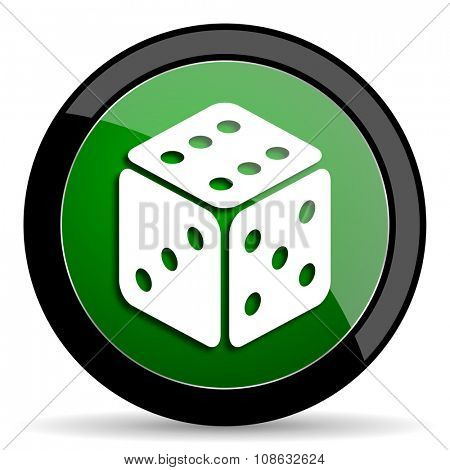 game green web glossy circle icon on white background