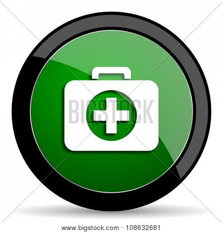 first aid green web glossy circle icon on white background