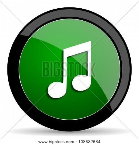 music green web glossy circle icon on white background