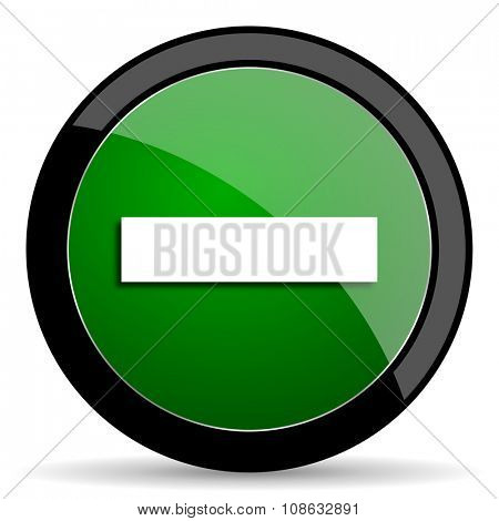 minus green web glossy circle icon on white background
