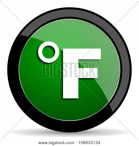 fahrenheit green web glossy circle icon on white background