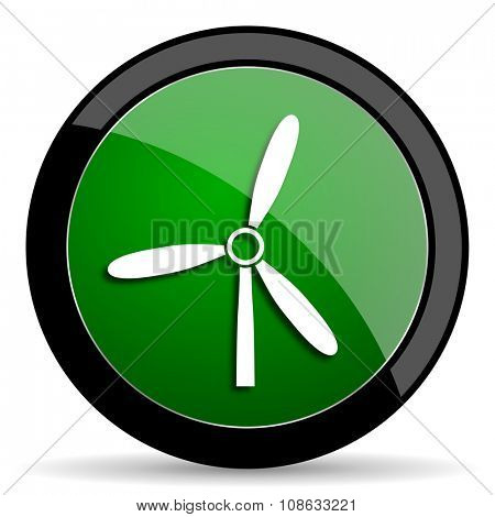 windmill green web glossy circle icon on white background