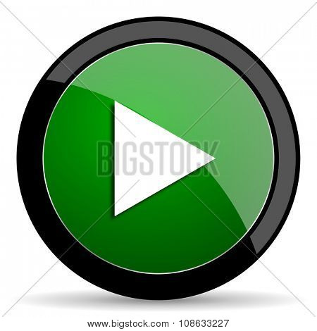 play green web glossy circle icon on white background