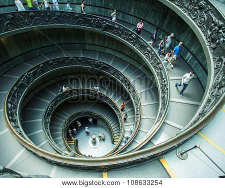 VATICAN - July 11 : Spiral stairs of the Vatican Museums in Vatican on July 11, 2015 in Rome, Italy.