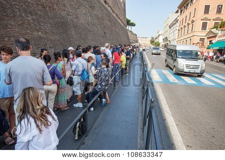 Rome, Italy - 11.07.2015: Queue area at the Vatican Museum on July 11, 2015, Vatican