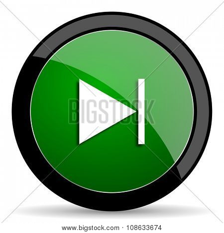 next green web glossy circle icon on white background