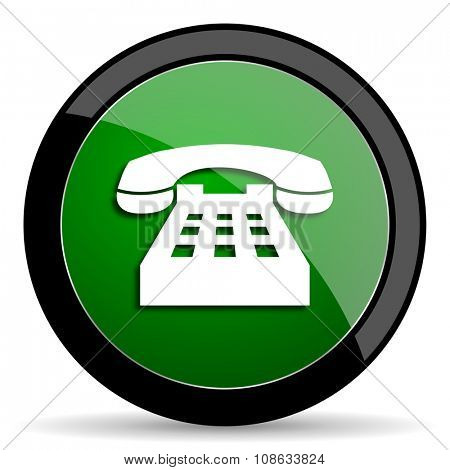 phone green web glossy circle icon on white background