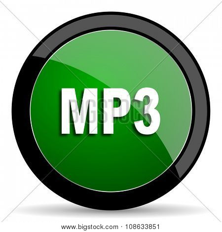 mp3 green web glossy circle icon on white background