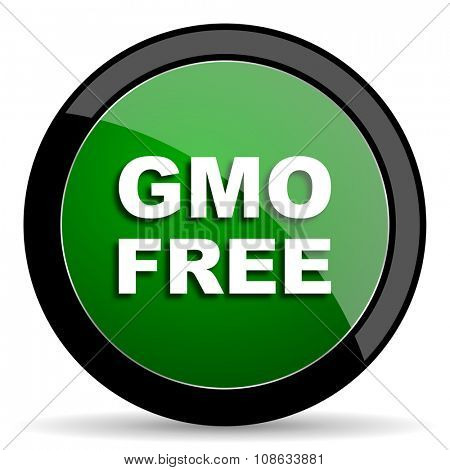 gmo free green web glossy circle icon on white background