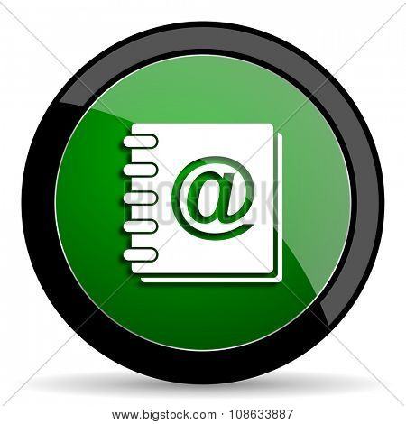 address book green web glossy circle icon on white background