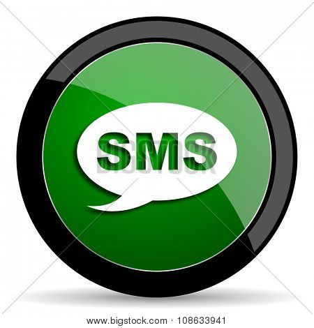 sms green web glossy circle icon on white background