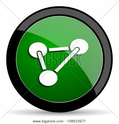 chemistry green web glossy circle icon on white background