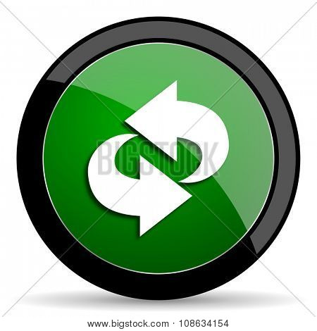 rotation green web glossy circle icon on white background