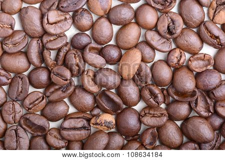 Brown Coffee Beans,  Close-up Of Coffee Beans For Background And Texture