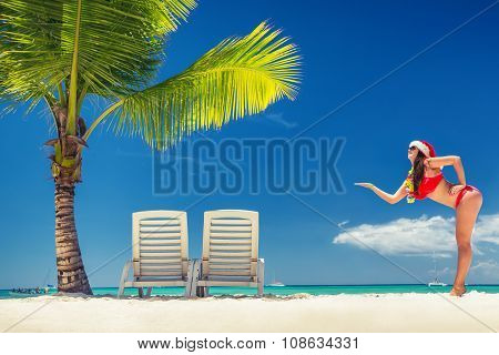 Happy Woman With Santa Hat On Tropical Island And Exotic Beach