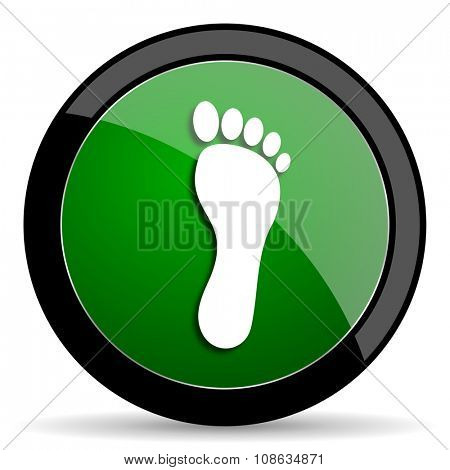 foot green web glossy circle icon on white background