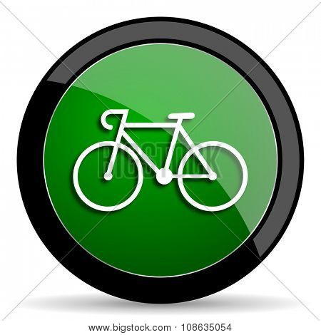 bicycle green web glossy circle icon on white background