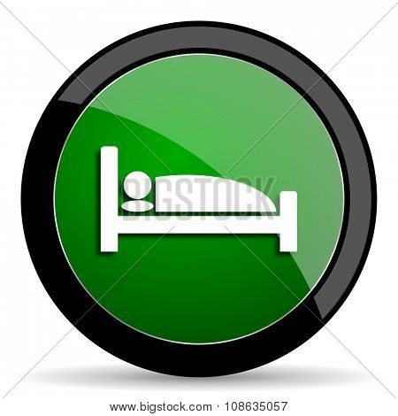 hotel green web glossy circle icon on white background