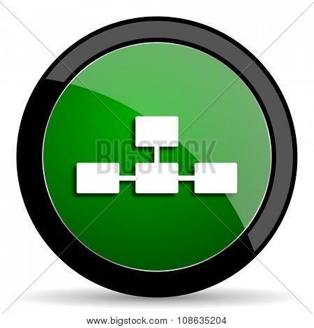 database green web glossy circle icon on white background