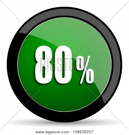 80 percent green web glossy circle icon on white background