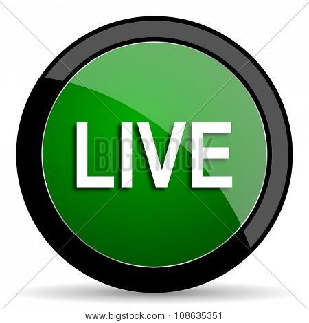 live green web glossy circle icon on white background