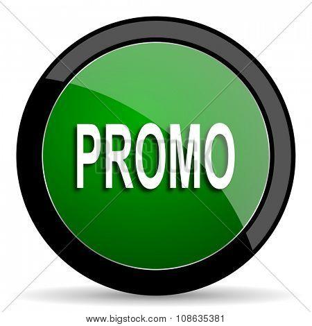 promo green web glossy circle icon on white background